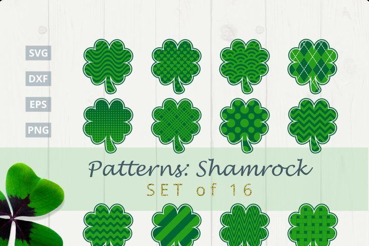 Pattern Shamrock Set of 16 SVG Bundle|SVG |DXF |EPS |PNG