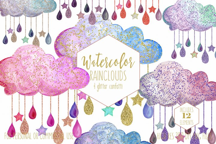 Cute Rainbow Watercolor Rain Clouds & Rain Drops with Metallic Gold Glitter Confetti Baby Shower Clipart Nursery Graphics Set