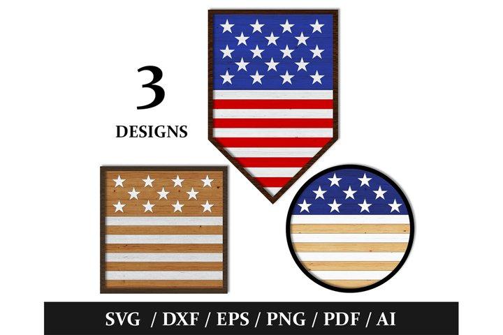 3 American / USA Flag Patriotic Wall Decor Cut File-SVG/DXF