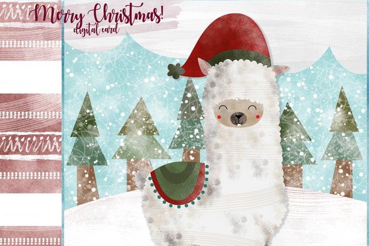 Llama Christmas Card. Llama Greeting Card.
