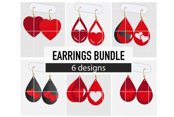 Valentine Day Earrings Bundle / Leather / Faux / Cut Files