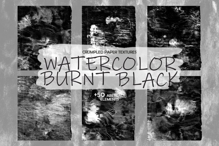 Crumpled Textures Watercolor Burnt Black