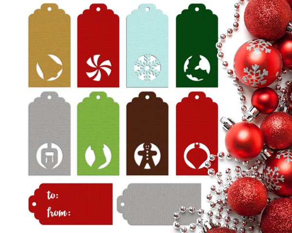 Winter Holiday Gift Tags SVG File Cutting Template