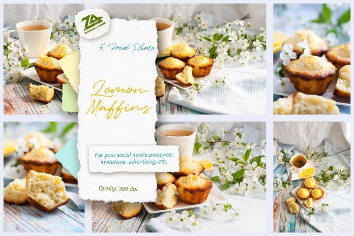 A bundle of 6 high resolution food photos Lemon muffins