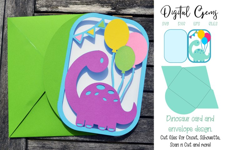 Dinosaur card and envelope design SVG / DXF / EPS files