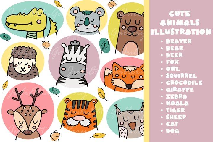 Cute animals illustration. 14 vector animal illustrations 5