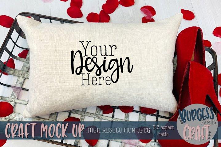 Valentine 12x18 pillow with stilettos Craft mock up