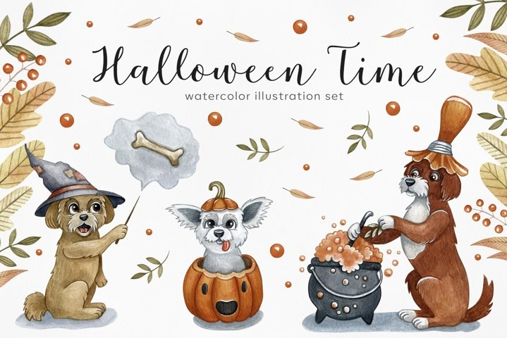 Watercolor set halloween dogs. 6 dog exclusive illustrations