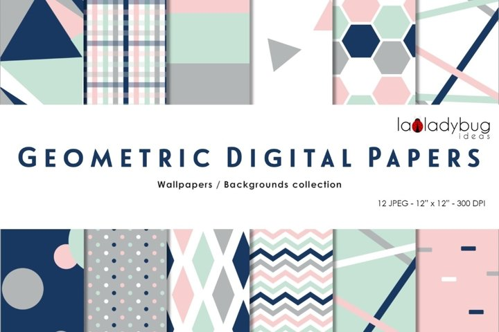 Multicolor triangles digital papers. Geometric wallpapers.