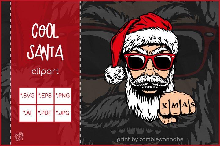 Christmas SVG, Cool Santa SVG, Cool Christmas Cut File
