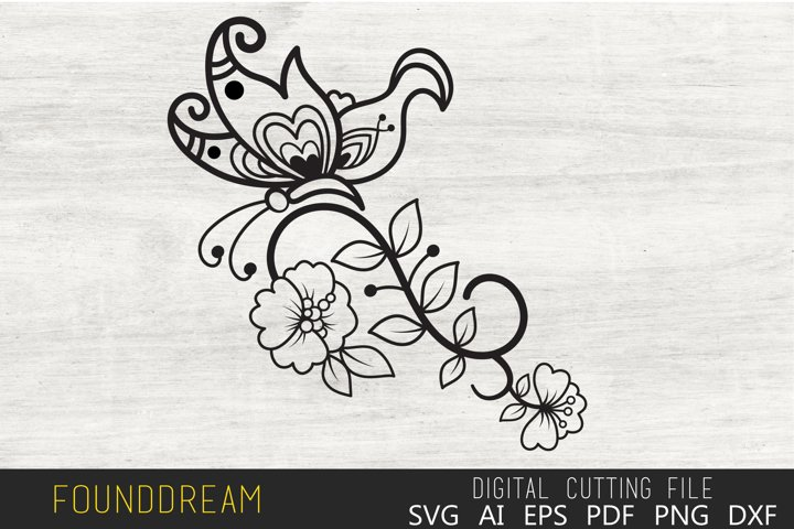 Floral Butterfly svg file