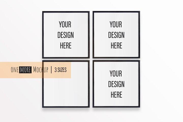 4 Black Frames Mockup |1x1 Frames Mock Up |Square Mock Up