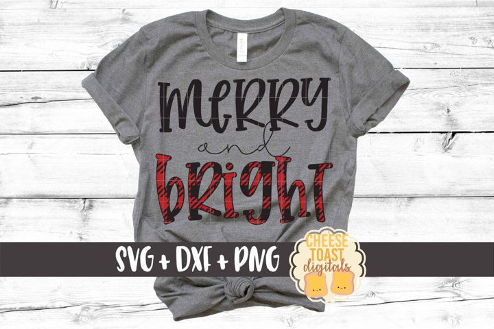 Merry and Bright - Christmas SVG PNG DXF Cut Files
