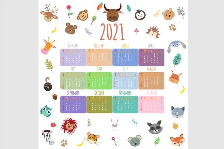 Animals Calendar 2021. Beautiful, cute animals, flat cartoon