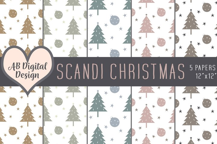 Scandinavian Christmas Digital Paper Background, Scandi Baby