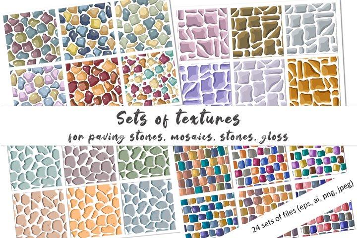 set of vector seamless patterns of stones, glas, bricks