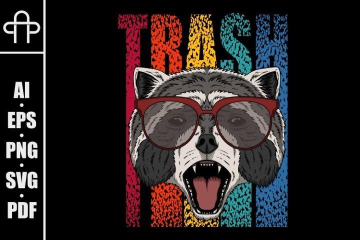 Raccoon eyeglasses vector illustration