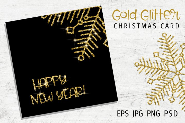Gold Glitter Christmas Card | EPS PSD PNG JPG