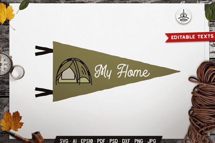 Travel SVG Emblem Vector Retro Tent Pennant Logo PNG
