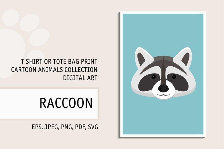 Raccoon portrait. Digital art for t shirt, tote bag print