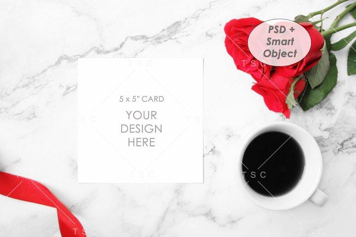 5 x 5 Card Mockup / Square Card / Invitation Card