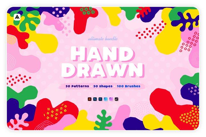 Hand-drawn seamless patterns, shapes & brushes bundle