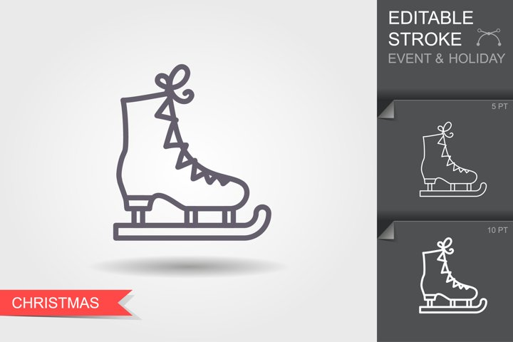 Ice figure skate. Line icon with editable stroke with shadow