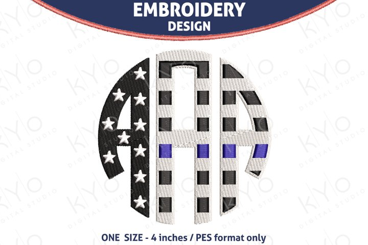 Thin Blue Line Monogram Font Embroidery PES files
