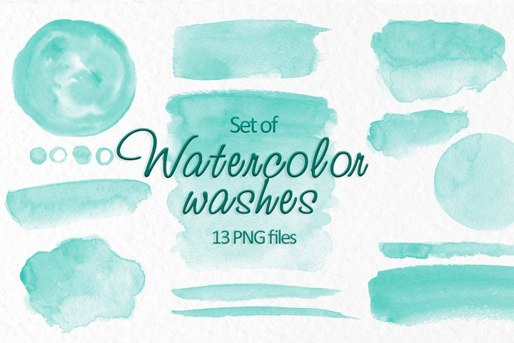 Turquoise watercolor washes clipart Wedding Invitation decor