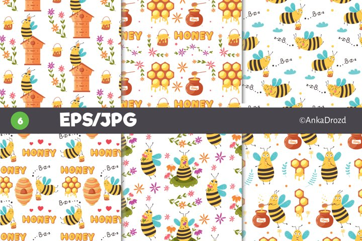 Set yellow Bee digital paper. Honey Bee pattern