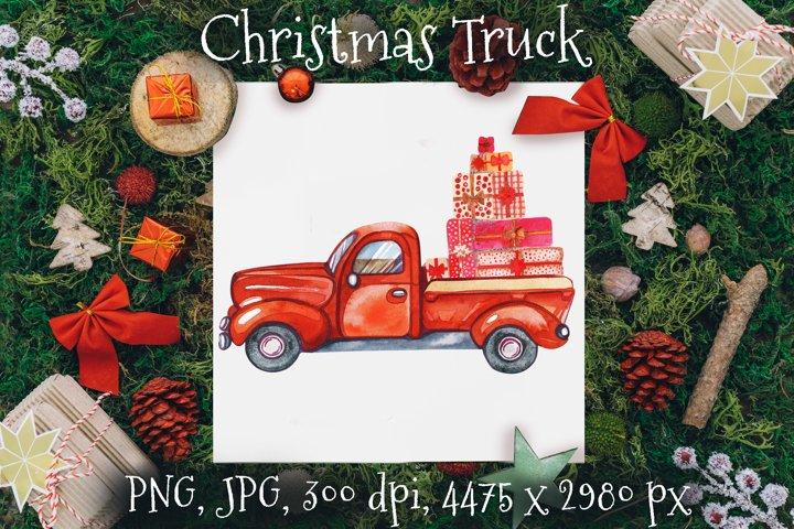 Red Truck Christmas. Christmas Watercolor. Christmas Card
