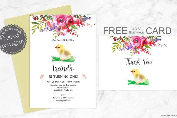 Chick Birthday Invitation, Farm Animals Birthday Invitation