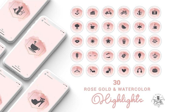 Pink Watercolor Instagram Highlight Covers, Highlight Icons