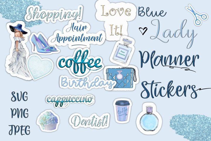 24 SVG and PNG Planner Stickers Blue lady Kit. CUOK