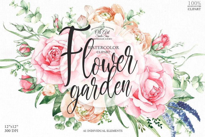 Watercolor digital clipart of flowers roses