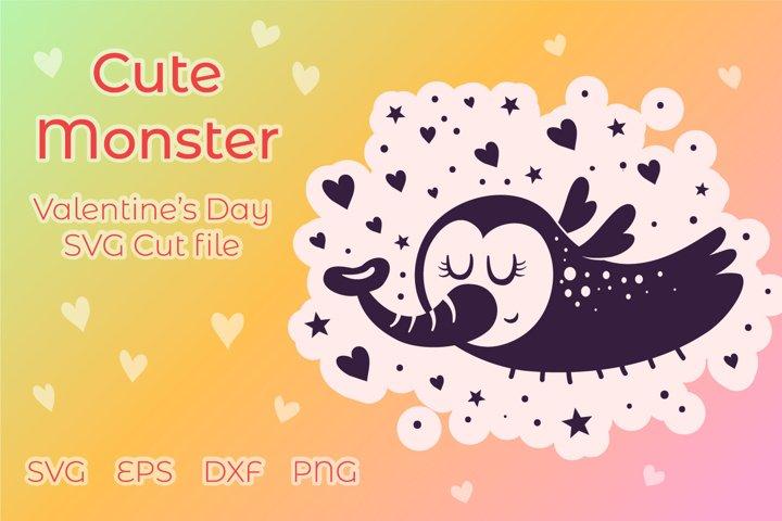 Cute Monster SVG - Valentine file