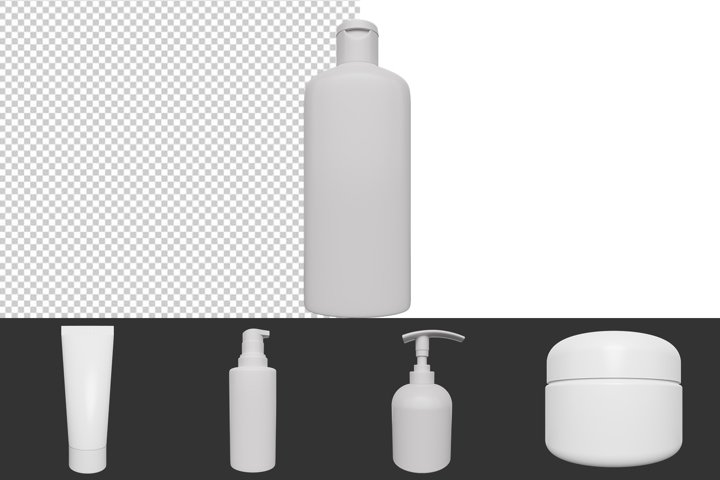 3D bottles for cosmetics with a transparent background