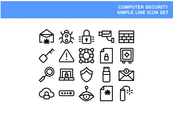 Simple set line icon computer security vector illustration