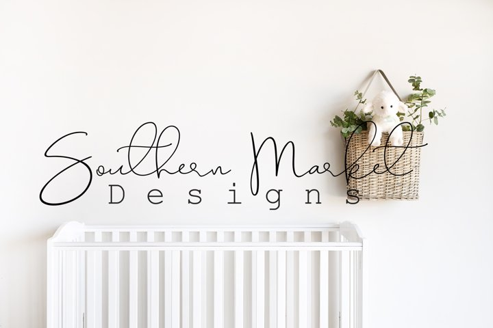Nursery Blank Wall Sign Mock Up Wood Frame Styled Photograph
