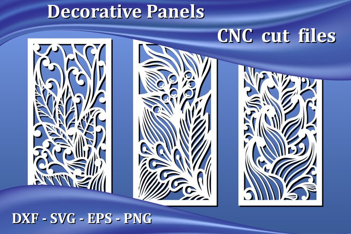 Decorative panels, laser cut files for Cnc. Floral pattern