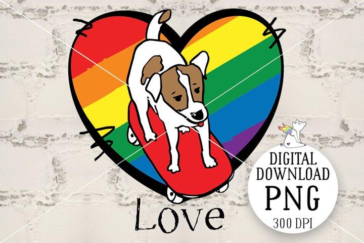 LGBT Dog PNG, Lgbt Pride, Sublimation design, Dog and skate
