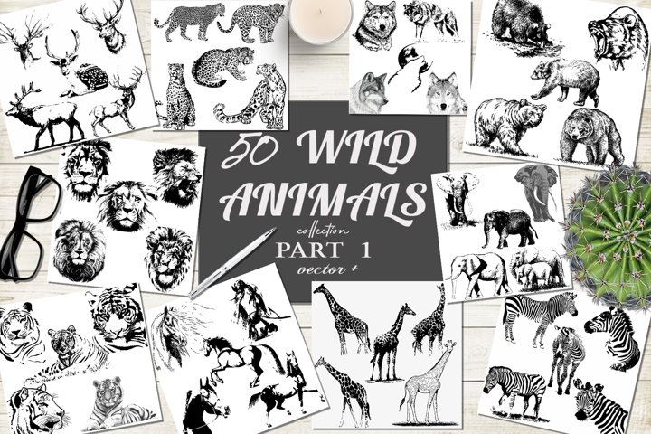 50 wild animals hand drawn silhouette vector illustrations