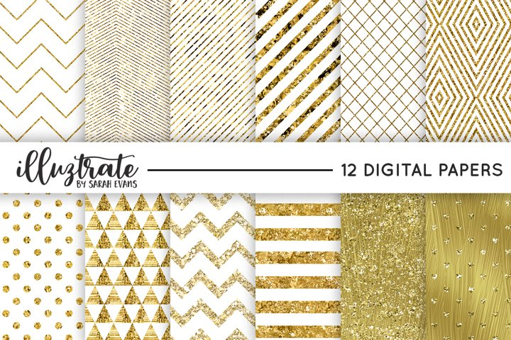 White and Gold Foil Patterns - Simple, Stylish Digital paper