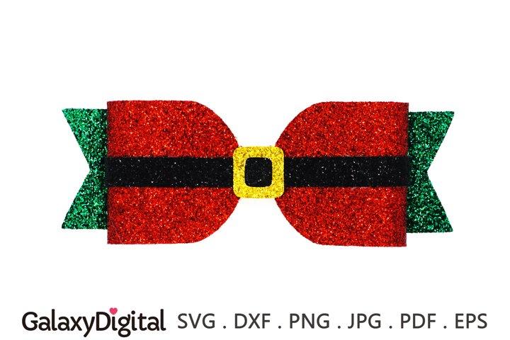 Christmas Hair Bow SVG, Santa Hair Bow Template SVG