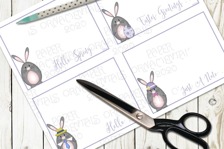 Flat Note Card, Post Card, Gray Easter Bunny Greetings