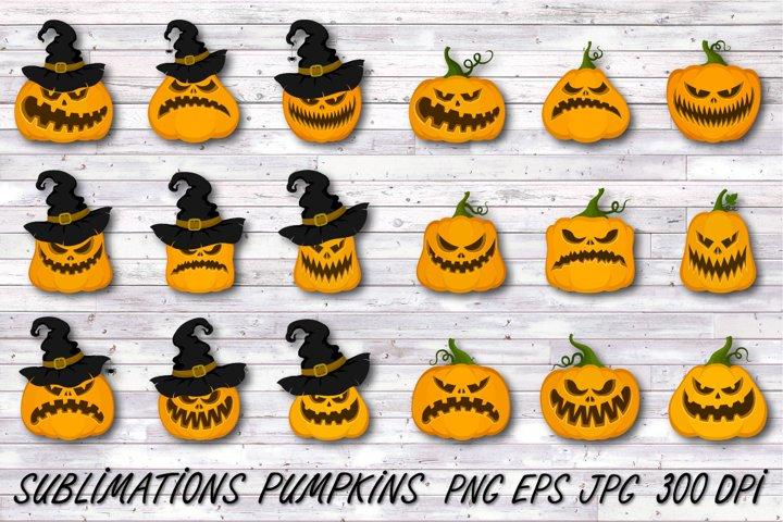 Halloween pumpkin,halloween faces,Jack o lantern,Clipart
