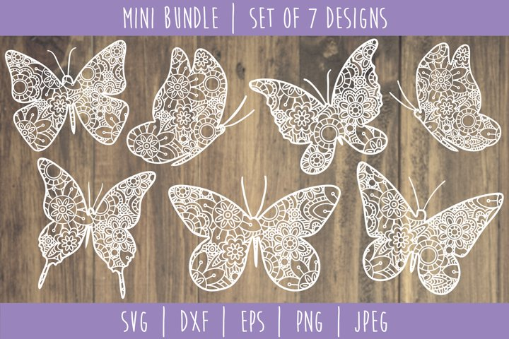 Butterfly Mandala Zentangle Bundle Set of 7 - SVG
