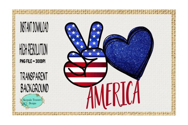 Peace Love America, Sublimation Design