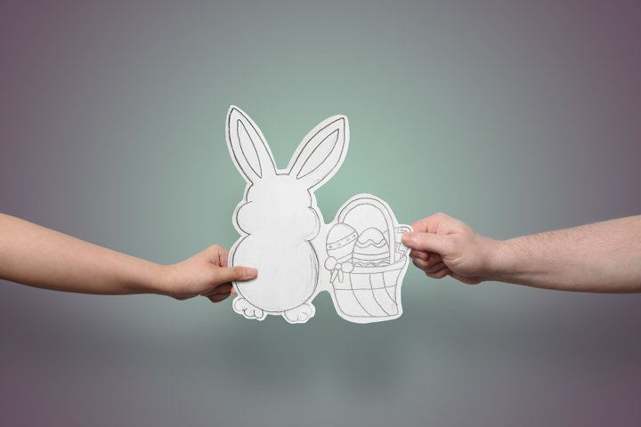 Bunny Rabbit With Easter Basket, Paper Cut Out, Hand Drawn