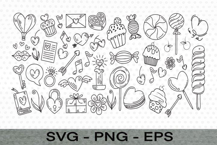 Valentine Day Element, Doodle SVG,EPS,PNG Files, Valentine
